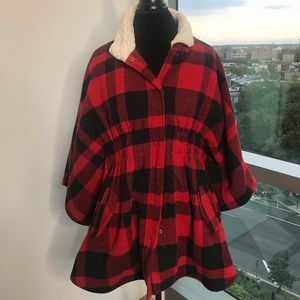 Red and Black Buffalo Checkered Poncho/Cape